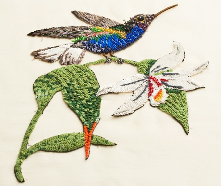 Dream Blueprints Design Studio , Hand Embroidery Atelier, sequin, Swarovski bird